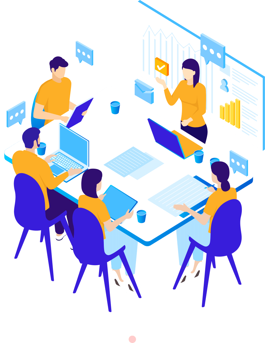 Icon of a team discussing in a meeting